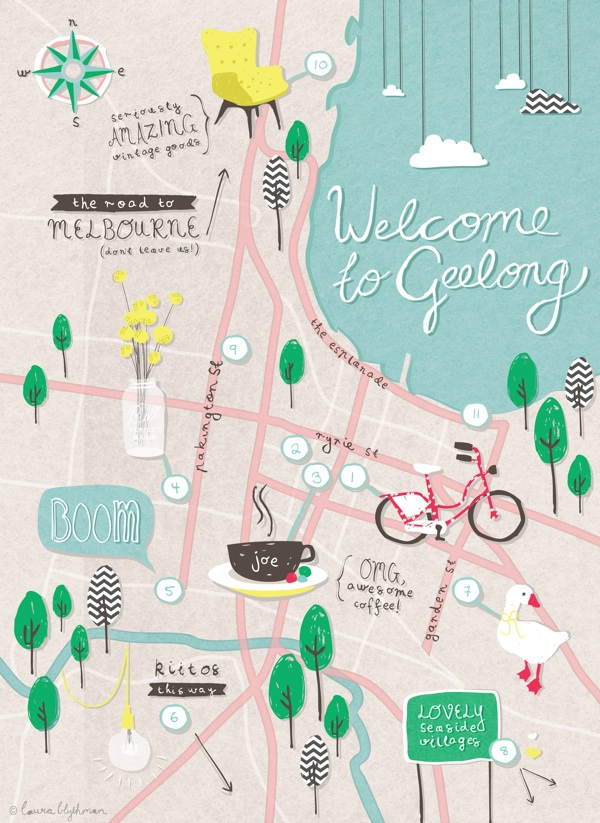 Oh! Hello Geelong City Map by Laura Blythman for thedesignfiles.net